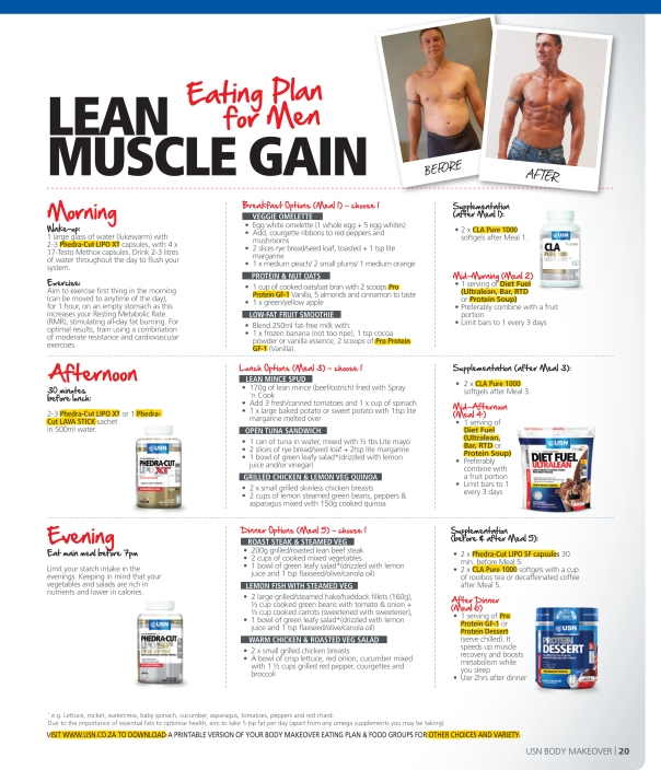 Lean muscle gain eating plan for men